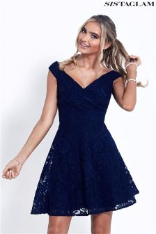 Sistaglam Glitter Lace Off The Shoulder Skater Dress