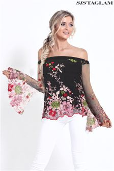 Sistaglam Embroidered Floral Top