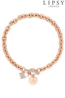 Lipsy Pave Crystal Padlock Chain Necklace