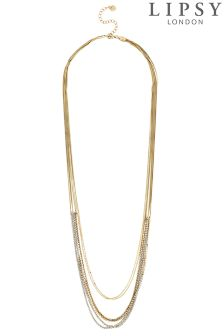 Lipsy Crystal Chain Multi Row Long Necklace