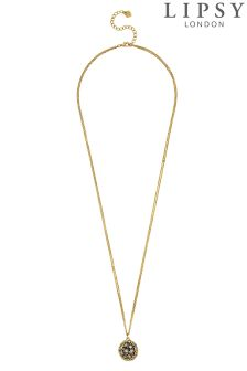 Lipsy Pave Crystal Long Ball Necklace