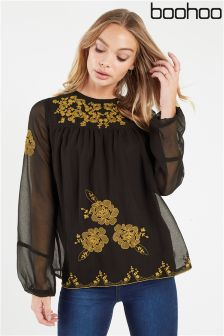 Boohoo Embroidered Chiffon Top
