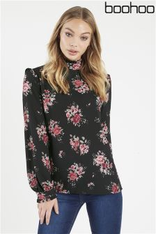 Boohoo Floral Print High Neck Blouse