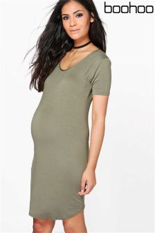 Boohoo Maternity Mila Cap Sleeve Bodycon Dress