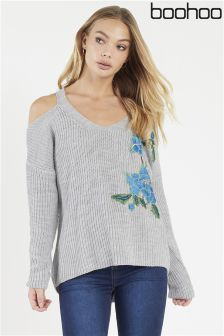 Boohoo Floral Embroidered Cold Shoulder Jumper