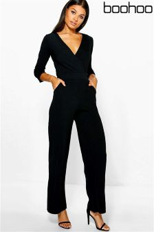 Boohoo Roll Sleeve Relaxed Wide Leg Jumpsuit