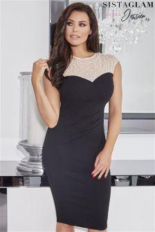 Jessica Wright Pearl Mesh Neckline Bodycon Dress