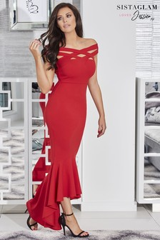 Sistaglam Loves Jessica Cross Front Bardot Maxi Dress