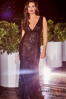 Jessica Wright VIP Embellished Deep V neck Maxi Dress