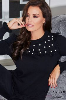 Jessica Wright Frill Detail Knit Jumper With Pearl Embellishment
