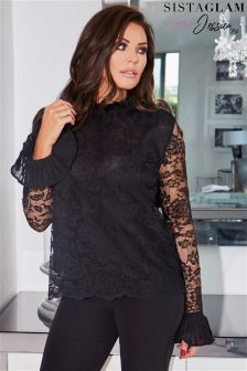 Sistaglam Loves Jessica Lace Long Sleeve Top With Frill Detail And Tie
