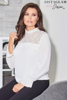Jessica Wright White Fluted Long Sleeve With Lace And Victorian Neckline