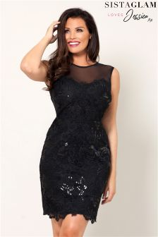 Jessica Wright All Over Lace Dress Mesh Neckline