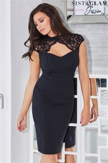 Sistaglam Loves Jessica Keyhole Lace Placement With Bodycon Stretch Skirt