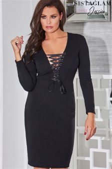 Jessica Wright Long Sleeve Bodycon With Front Tie Up
