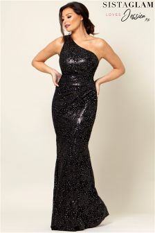 Jessica Wright One Shoulder Sequin Maxi Dress