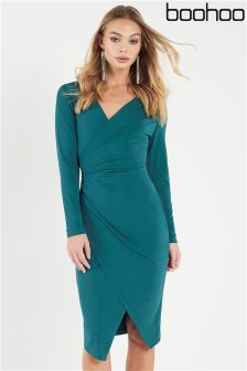 Boohoo Ruched Wrap Over Tailored Dress