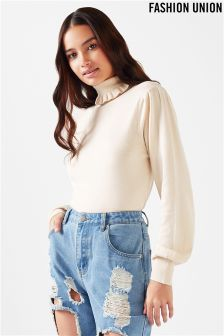 Fashion Union High Neck Frill Jumper