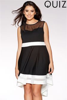 Quiz Curve Mesh Dip Hem Dress