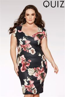 Quiz Curve Floral Print Midi Dress