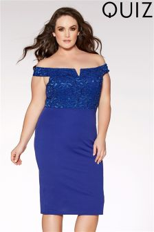 Quiz Curve Royal Blue Glitter Lace Midi Dress