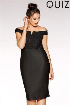 Quiz Curve Glitter Lace Midi Dress