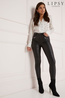 Lipsy Kate Long Length Coated Skinny Jeans