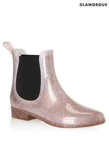 Glamorous Glitter Chelsea Wellington Boots