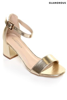 Glamorous Low Heel Metallic Sandals