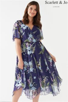 Scarlett & Jo Hanky Hem Wrap Chiffon Dress