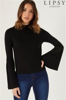 Lipsy High Neck Fluted Sleeve Top