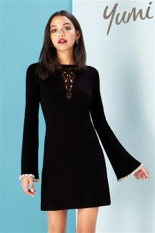 Yumi Fluted Sleeve Lace Panel Dress