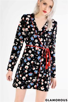 Glamorous Petite Floral Wrap Front Dress