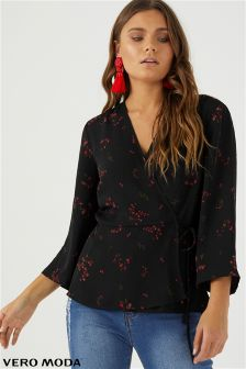 Vero Moda Floral Printed Wrap Top