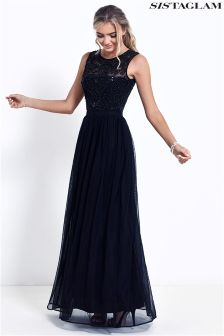 Sistaglam Beaded Bodice Chiffon Maxi Dress