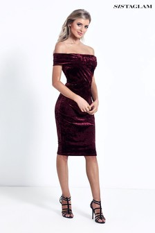 Sistaglam Velvet Bardot Bodycon Dress