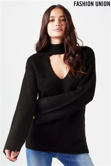 Fashion Union Choker Neck Lightweight Jumper