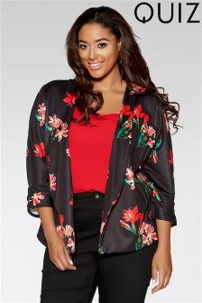 Quiz Curve Flower Print 3/4 Sleeve Jacket