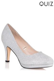 Quiz Silver Shimmer Platform Low Heel Court