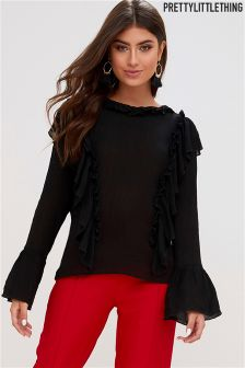 PrettyLittleThing Frill Bell Sleeve Blouse