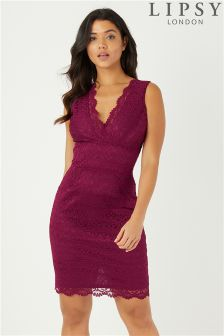 Lipsy V neck All Over Lace Bodycon Dress