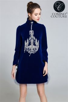 Comino Couture Velvet Swing Chandelier Dress
