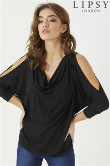 Lipsy Cowl Neck Cold Shoulder Top