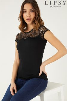 Lipsy Lace Yoke Cap Sleeve Top