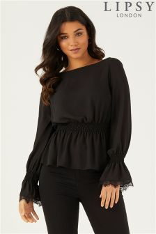Lipsy Shirred Lace Cuff Blouse