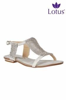 Lotus Embellished Flat Sandals