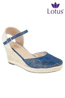 Lotus Embellished Wedge Sandals