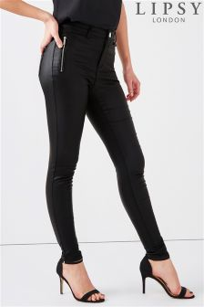 Lipsy Kate Coated Mid Rise Zip Detail Skinny Jeans