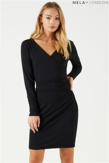 Mela London Long Sleeve Wrap Bodycon Dress