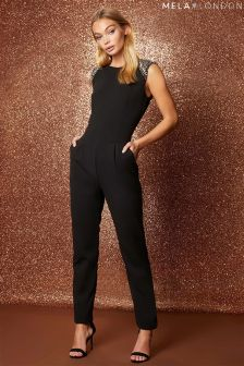 Mela London Beaded Shoulder Jumpsuit